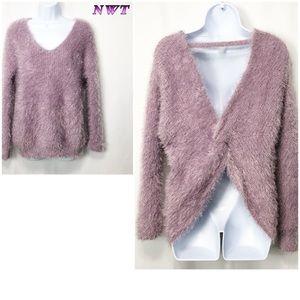 NWT- C - Purple eyelash V neck Open Back sweater M